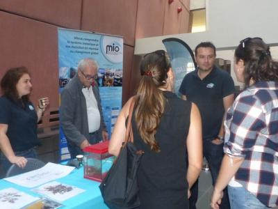 Christian, Aurélie and Thierry Thibaut at the IRD MIO stand on the Sargasso